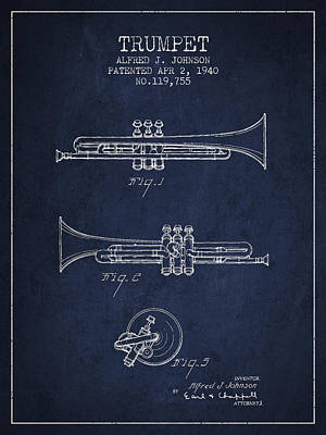Trumpet Digital Art - Vintage Trumpet Patent From 1940 - Blue by Aged Pixel