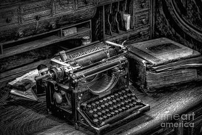 Typewriter Keys Photograph - Vintage Typewriter by Adrian Evans