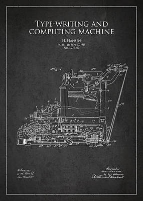 Keyboards Digital Art - Vintage Typewriter Patent From 1918 by Aged Pixel