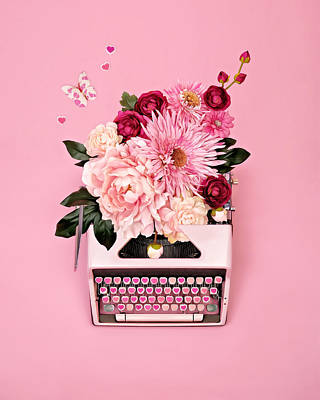 Photograph - Vintage Typewriter With Flowers by Juj Winn