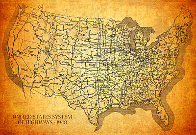 Vintage United States Highway System Map On Worn Canvas Art Print