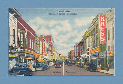 Vintage Va Tn Postcard Kress  Art Print by Denise Beverly