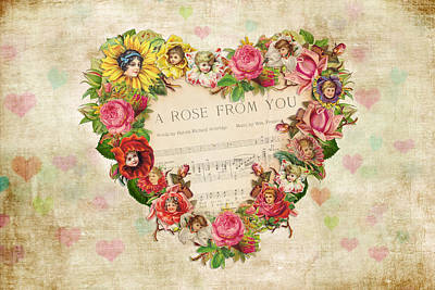 Digital Art - Vintage Valentine Hearts And Flowers by Peggy Collins