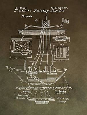 Boating Mixed Media - Vintage Vessel Recovery Patent by Dan Sproul