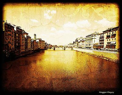 Mixed Media - Vintage View Of River Arno by Femina Photo Art By Maggie