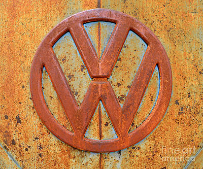 Vintage Volkswagen Bus Logo Art Print by Catherine Sherman