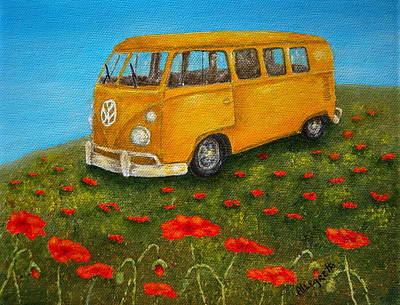 Transportation Mixed Media - Vintage Vw Bus by Pamela Allegretto