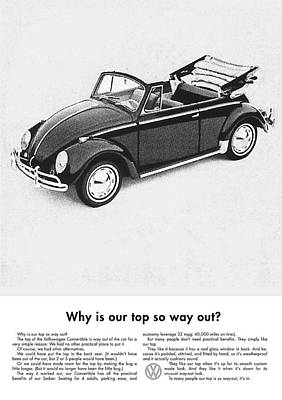 Advertizement Digital Art - Vintage Vw Convertible Advert by Georgia Fowler