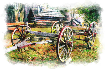 Mabry Mill Painting - Vintage Wagon On Blue Ridge Parkway IIi by Dan Carmichael