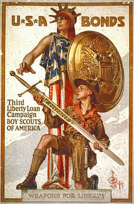 War Bonds Photograph - Vintage War Bonds Poster 1917 by Padre Art