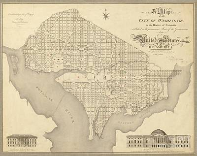 Maps Painting - Vintage Washington Dc Map by Baltzgar