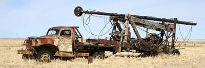 Photograph - Vintage Water Well Drilling Truck by Jack Pumphrey