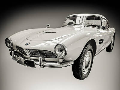 Bmw Racer Photograph - Vintage White Bmw 507 by Mr Doomits
