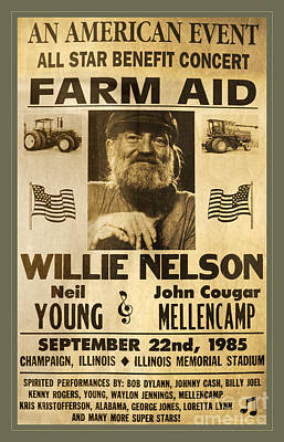 Actors Photos - Vintage Willie Nelson 1985 Farm Aid Poster by John Stephens