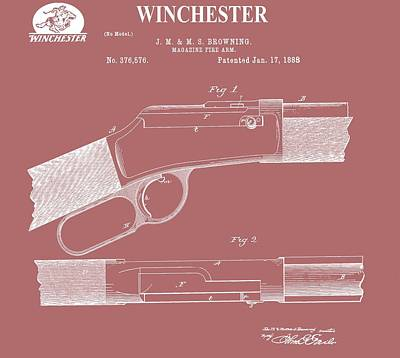 Old West Mixed Media - Vintage Winchester Firearm Patent by Dan Sproul