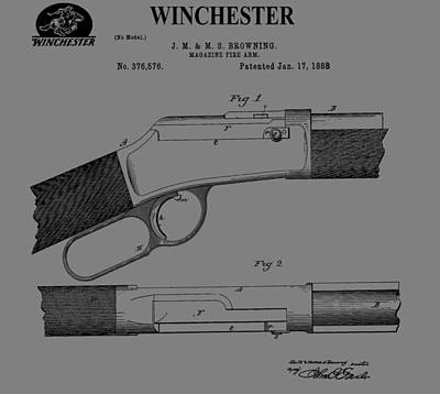 Gunfight Digital Art - Vintage Winchester Illustration by Dan Sproul
