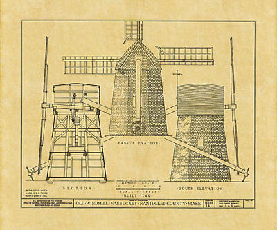 Photograph - Vintage Windmill Blueprint by Andrew Fare