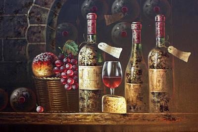 Vintage Wine Bottles Original by American Artist
