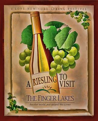 Vintage Wine Poster Art Print by Linda Phelps