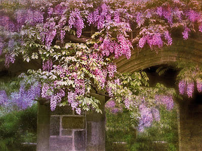 Stone Buildings Digital Art - Vintage Wisteria by Jessica Jenney