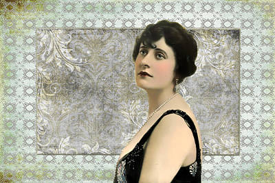 Photograph - Vintage Woman And Damask Pattern by Peggy Collins