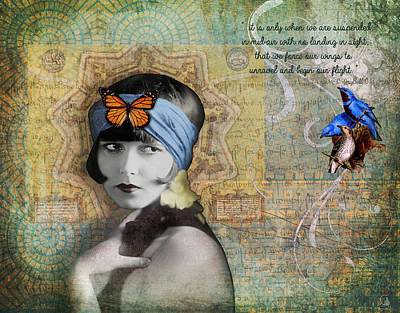 Vintage Woman Birds And Butterfly Art Print by Cat Whipple