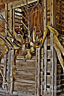 Artistic License Photograph - Vintage Wood Chicken Carrier And Corn Bouquet by JW Hanley