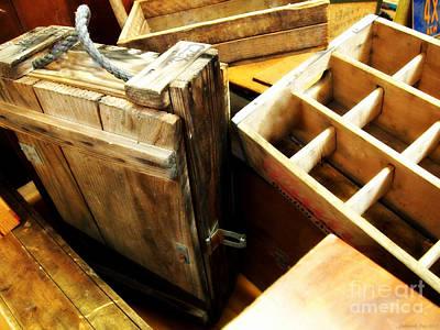 Vintage Wooden Boxes Art Print by Deborah Fay