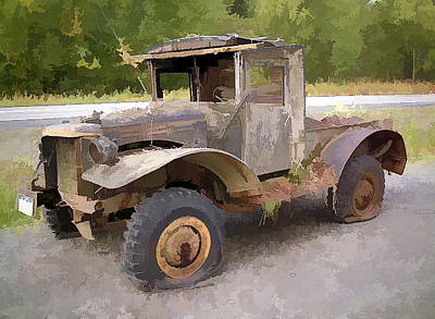 Photograph - Painted Effect - Vintage Wooden Car by Susan Leonard