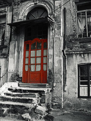Photograph - Vintage Wooden Red Door And Damaged Stone Stair by Vlad Baciu