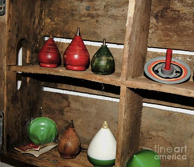 Photograph - Vintage Wooden Tops by Debra Crank