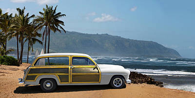 Sky Photograph - Vintage Woody On Hawaiian Beach by Ed Freeman