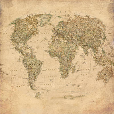 Guides Mixed Media - Vintage World Map by Gina Dsgn