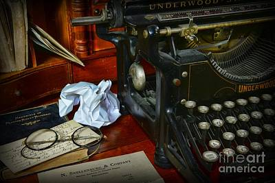 Typewriter Keys Photograph - Vintage Writers Desk by Paul Ward