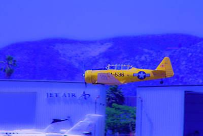 Vintage Yellow Airplane Art Print by Terry Thomas