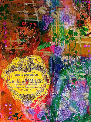Mixed Media Royalty Free Images - Vintner Label Royalty-Free Image by Bellesouth Studio