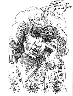 Phone Drawing - Viola On The Phone by Ylli Haruni