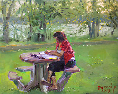 Table Painting - Viola - The Math Teacher by Ylli Haruni