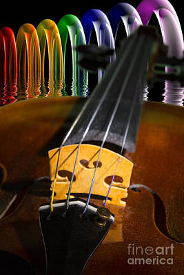 Music Photograph - Viola Violin In A Fantasy World In Color 3067.02 by M K  Miller