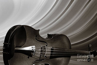 Photograph - Viola Violin On A Rainbow Background In Sepia 3071.01 by M K Miller