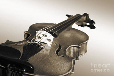 Photograph - Viola Violin On A Soft Background In Sepia 3068.01 by M K Miller