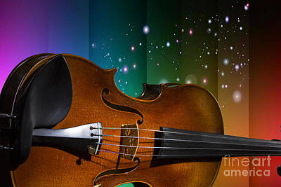 Photograph - Viola Violin On A Star And Rainbow Background In Color 3073.02 by M K Miller