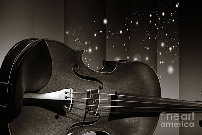 Photograph - Viola Violin On A Star And Rainbow Background In Sepia 3073.01 by M K Miller