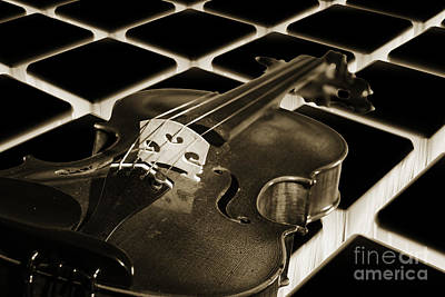 Photograph - Viola Violin On A Tile Background In Sepia 3069.01 by M K Miller