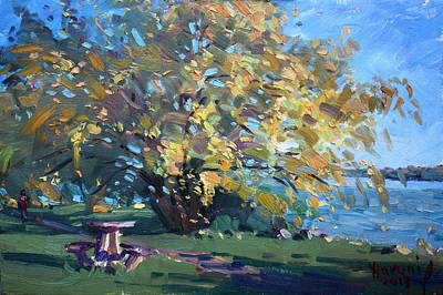 Fall Colors Painting - Viola Walking In The Park by Ylli Haruni
