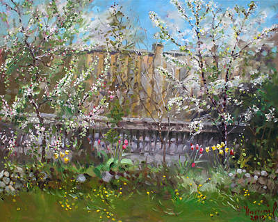 Trees Blossom Painting - Viola's Apple And Cherry Trees by Ylli Haruni