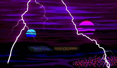 Violent Binary Sunset Art Print by L Brown