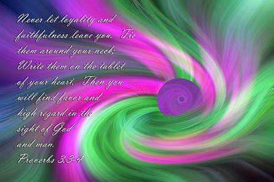 Religious Art Digital Art - Violet And Green  Swril Abstract Proverbs by Linda Phelps