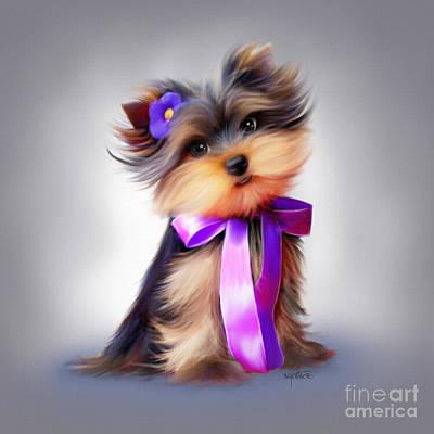 Puppy Mixed Media - Violet  by Catia Cho