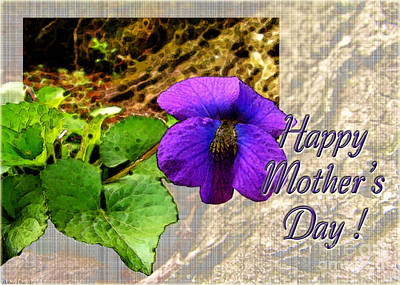 Photograph - Violet Greeting Card  Mother's Day by Debbie Portwood